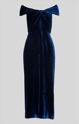Whistles Velvet Silk Mix Jumpsuit Navy Blue