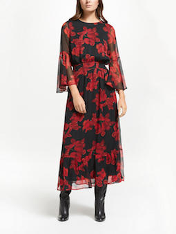 Y.A.S Cymbala Floral Maxi Dress Black Red