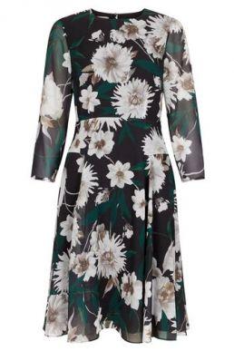 Hobbs Aurelie Floral Sleeve Dress Black Multi