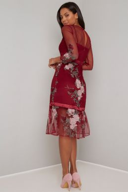 Chi Chi Ashling Floral Embroidered Shift Dress Red Multi