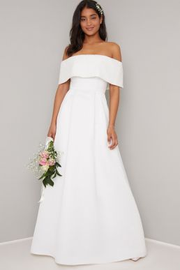 Chi Chi Bridal Bardot Harper Dress Ivory