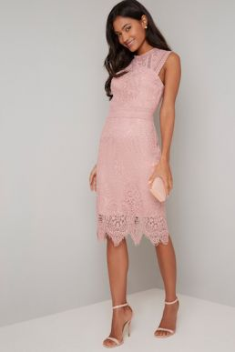 Chi Chi Clarabel Lace Short Dress Pink