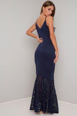 Chi Chi Malia Lace Mermaid Bridesmaid Dress Navy Blue