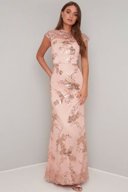 Chi Chi Oralie Lace Maxi Bridesmaid Dress Pink Blush