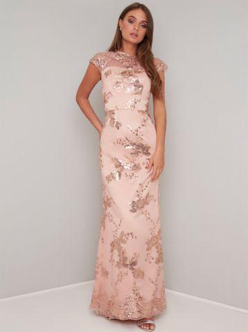 Chi Chi Oralie Lace Maxi Bridesmaid Dress Pink Blush