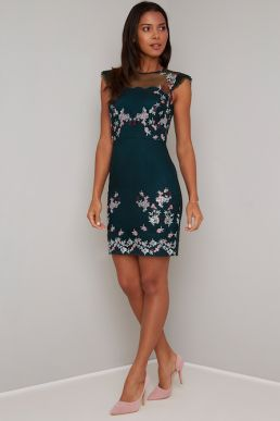 Chi Chi Sissy Floral Embroidered Shift Dress Green Multi