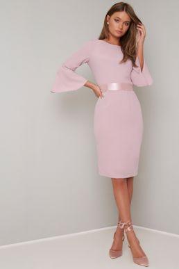 Chi Chi Yohana Short Bridesmaid Bow Dress Pink Blush