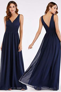 Ever Pretty V Neck Chiffon Maxi Bridesmaid Evening Dress Navy 07539