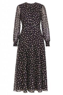 Hobbs Quinn sleeve print dress white black