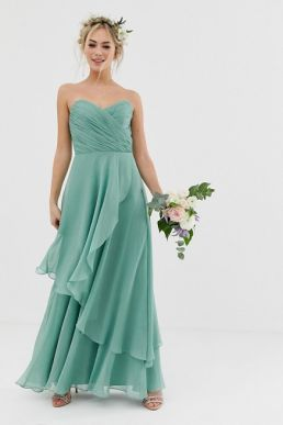 ASOS DESIGN Bridesmaid bandeau maxi dress with soft layer skirt sage green mint