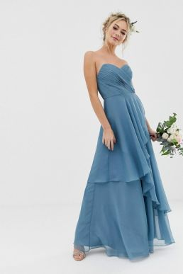 ASOS DESIGN Bridesmaid bandeau maxi dress with soft layer skirt soft blue