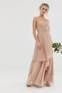 ASOS DESIGN Bridesmaid bandeau maxi dress with soft layer skirt soft blush pink