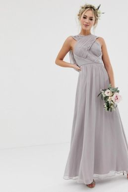 ASOS DESIGN Bridesmaid cross front soft drape maxi dress dove grey