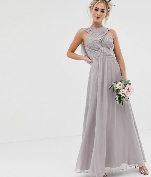 Grey Wedding Dress.Asos Design Bridesmaid Cross Front Soft Drape Maxi Dress Dove Grey
