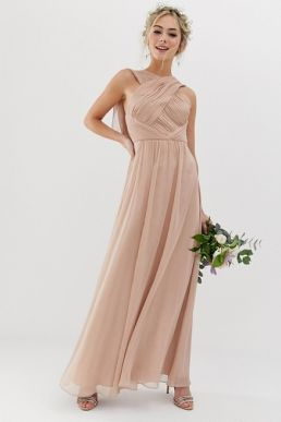 ASOS DESIGN Bridesmaid cross front soft drape maxi dress soft blush