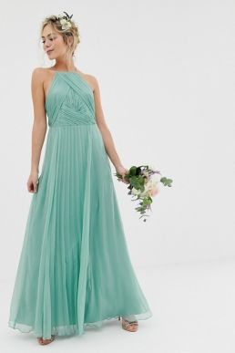 ASOS DESIGN Bridesmaid pinny maxi dress with ruched bodice sage green mint