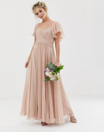 ASOS DESIGN Bridesmaid pleated bodice maxi dress with flutter sleeve soft blush nude