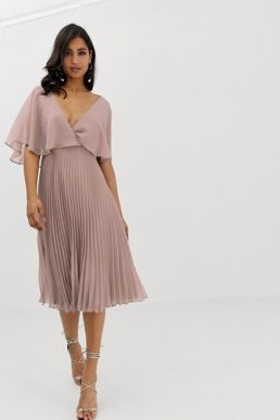 ASOS DESIGN flutter sleeve midi dress with pleat skirt light pink nude