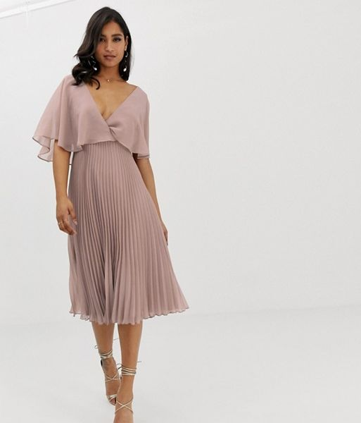 d95dc9abefe ASOS DESIGN flutter sleeve midi dress with pleat skirt light pink nude