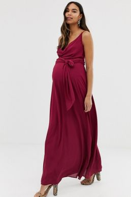 ASOS DESIGN Maternity cami wrap maxi dress with tie waist Burgundy