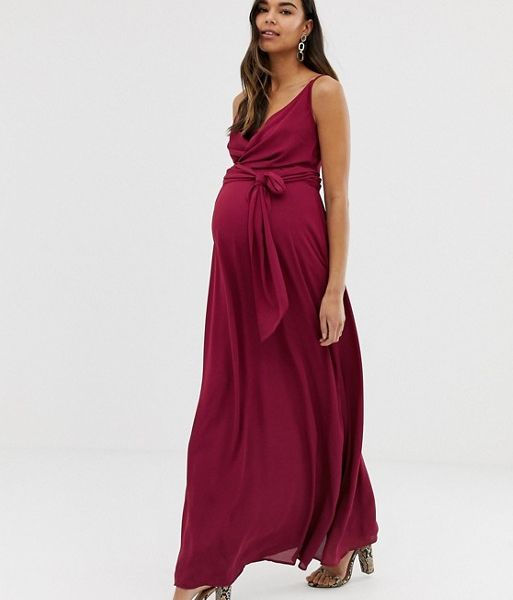 latest fashion cheap for discount factory price ASOS DESIGN Maternity cami wrap maxi dress with tie waist ...