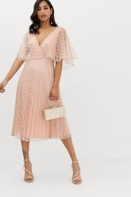 ASOS DESIGN midi dress flutter sleeve and pleat skirt in lace blush pink