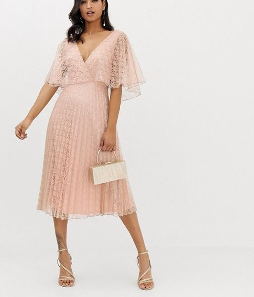 28dca60316 ASOS DESIGN midi dress flutter sleeve and pleat skirt in lace blush pink