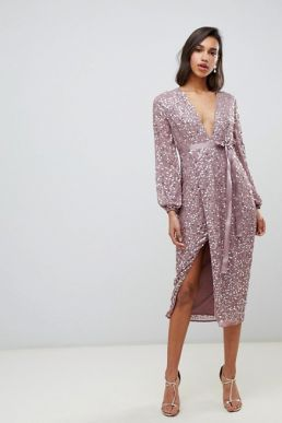 ASOS DESIGN midi dress in allover scatter sequin with ribbon tie waist blush pink