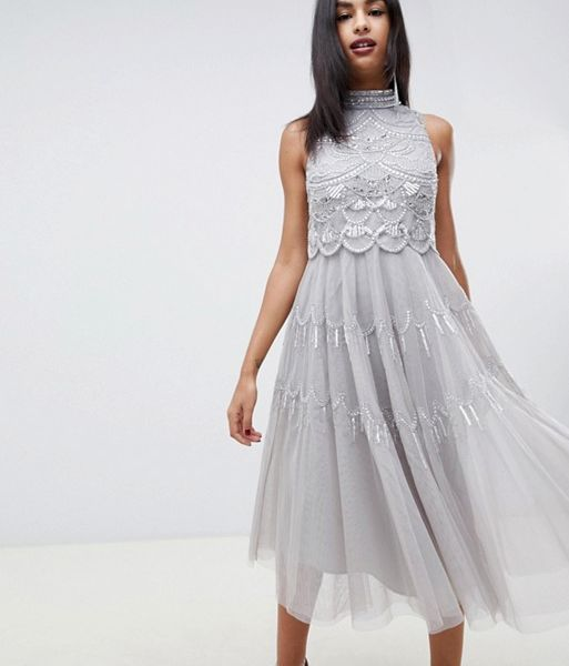 Asos Design Midi Dress With Scallop Embellished Crop Top Silver