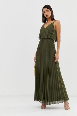 ASOS DESIGN pleated crop top maxi dress khaki green
