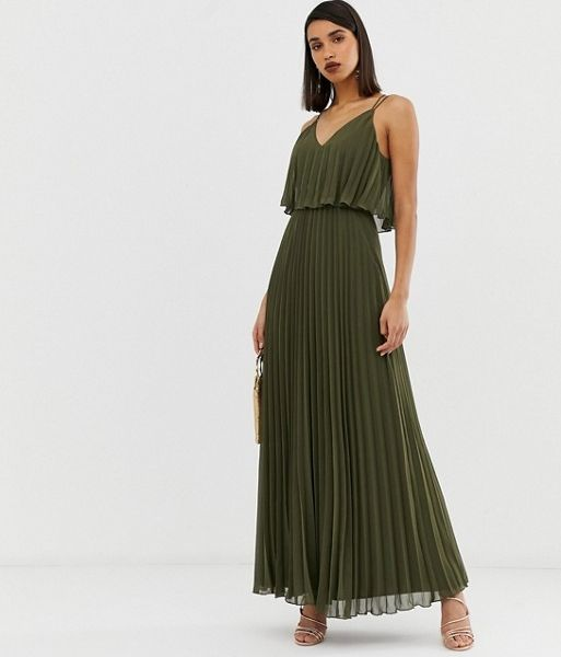 acfac76e6dae ASOS DESIGN Pleated crop top maxi dress