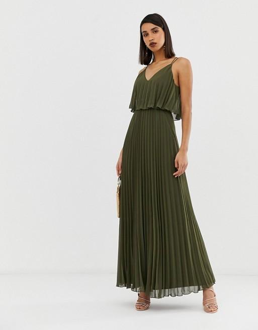 fc59300e556 ASOS DESIGN Pleated crop top maxi dress