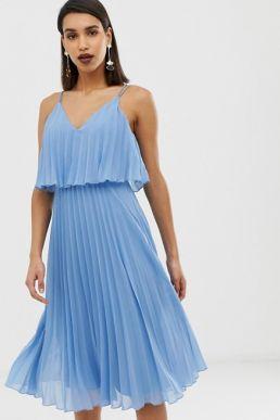 ASOS DESIGN Pleated crop top midi dress light blue