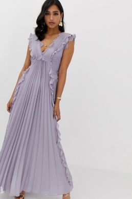 ASOS DESIGN pleated maxi dress with lace inserts and ruffle detail Lilac