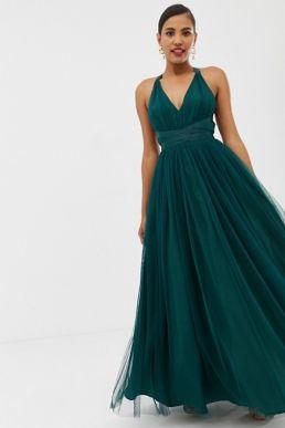 ASOS DESIGN Premium Tulle Maxi Prom Dress With Ribbon Ties Green