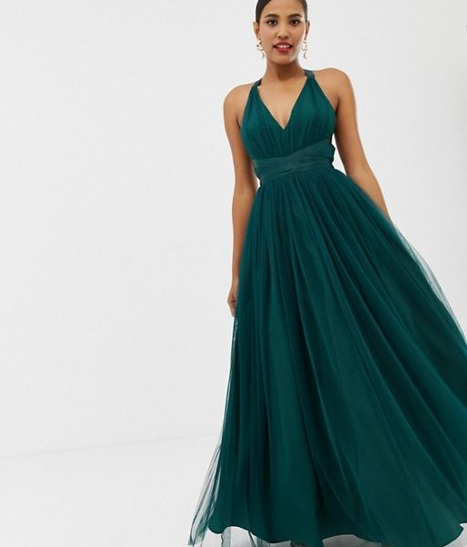 a8b4c8844d2 ASOS DESIGN Premium Tulle Maxi Prom Dress With Ribbon Ties Green