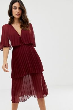 ASOS DESIGN Soft pleated tiered midi dress Burgundy Oxblood red