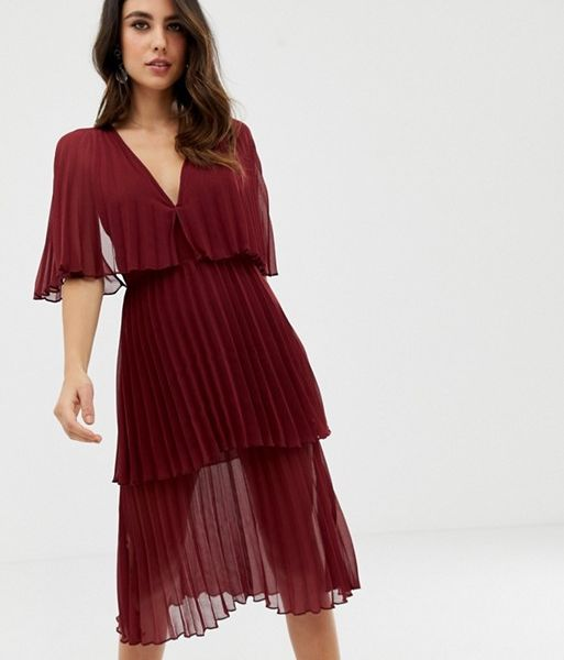 6f6330423136 ASOS DESIGN Soft pleated tiered midi dress, Burgundy/Oxblood Red ...
