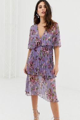 ASOS DESIGN soft pleated tiered midi dress in lilac floral multi