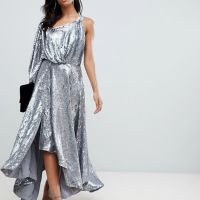 ASOS EDITION blouson one shoulder midi dress in holographic sequin Silver