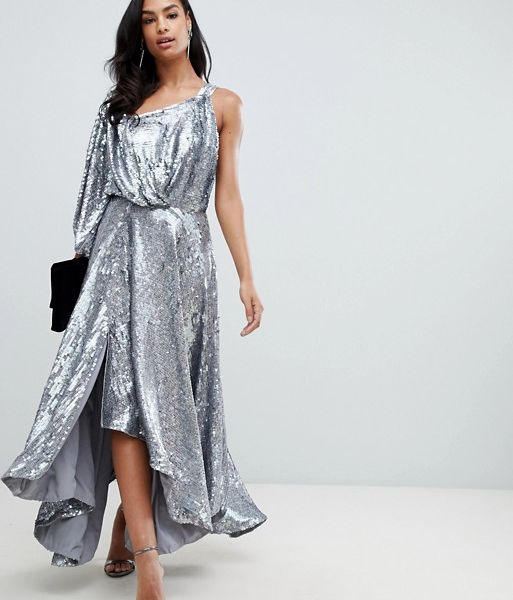 67e8cbaed86 ASOS EDITION blouson one shoulder midi dress in holographic sequin Silver