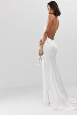 a750a871729 ASOS EDITION halter backless maxi wedding dress Ivory