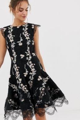 Bronx and Banco flower embroidery mini dress Black White