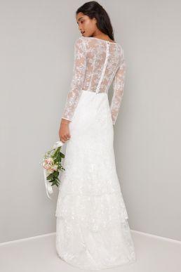 Chi Chi Bridal Dani Lace Sleeve Dress Ivory