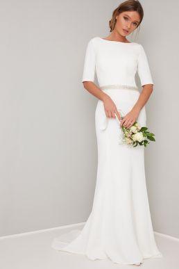 Chi Chi Bridal Demi Sleeve Maxi Dress White