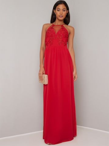 ac527c2ffc84 Chi Chi Ethel Lace Maxi Bridesmaid Dress Red