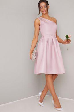 Chi Chi Karan One Shoulder Short Bridesmaid Dress Pink Blush