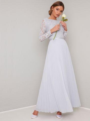 Chi Chi Kaylee Lace Maxi Bridesmaid Sleeve Dress Light Blue