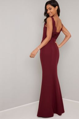 Chi Chi Kiely Maxi Bridesmaid Dress Burgundy Red
