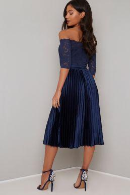 Chi Chi Lesli Lace Sleeve Short Bridesmaid Dress Navy Blue
